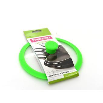 Стеклянная крышка GOURMET 20 см с зеленым силиконовым ободком Fissman 9951 - Minim