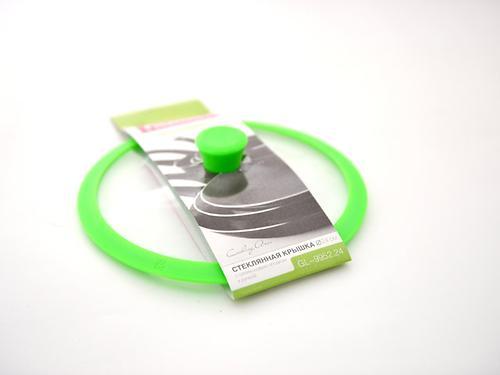 Стеклянная крышка GOURMET 24 см с зеленым силиконовым ободком Fissman 9952 (1)