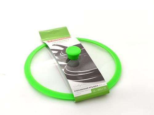 Стеклянная крышка Fissman GOURMET 28 см с зеленым силиконовым ободком 9954 (1)
