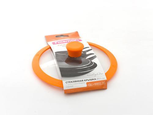 Стеклянная крышка GOURMET 20 см с оранжевым силиконовым ободком Fissman 9955 (1)