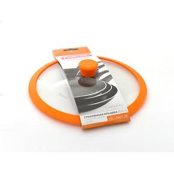 Стеклянная крышка Fissman GOURMET 26 см с оранжевым силиконовым ободком 9957 - Minim
