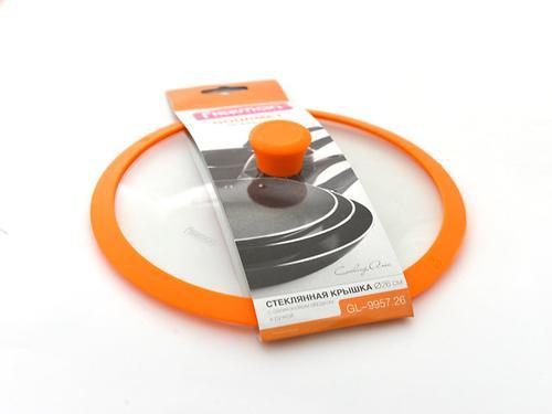 Стеклянная крышка Fissman GOURMET 26 см с оранжевым силиконовым ободком 9957 (1)