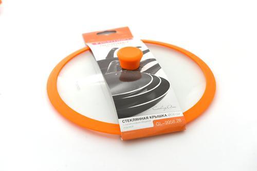 Стеклянная крышка Fissman GOURMET 28 см с оранжевым силиконовым ободком 9958 (1)