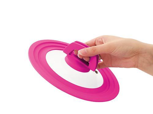 Многоразмерная стеклянная крышка Fissman MULTI 16/18/20 см с розовым силиконовым ободком 9960 (1)