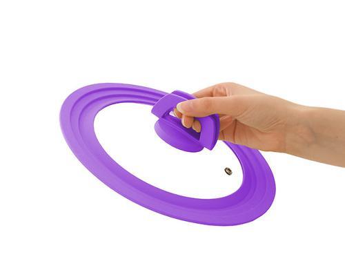 Многоразмерная стеклянная крышка Fissman MULTI 28/30/32 см с фиолетовым силиконовым ободком 9963 (1)