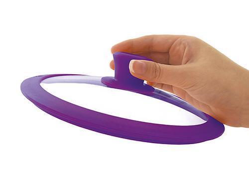 Стеклянная крышка GOURMET 20 см с фиолетовым силиконовым ободком Fissman 9971 (1)