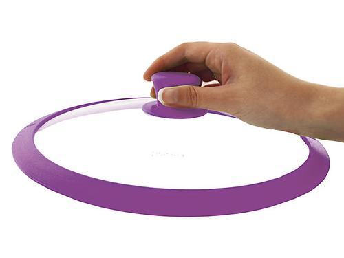 Стеклянная крышка Fissman GOURMET 26 см с фиолетовым силиконовым ободком 9973 (1)