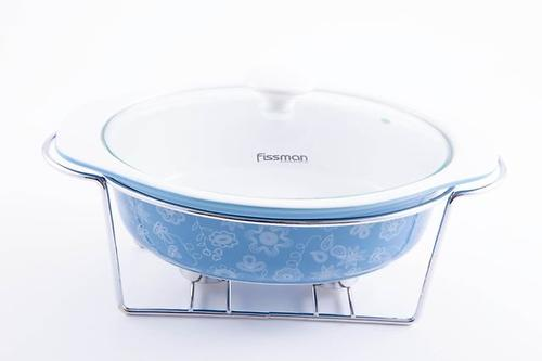 Овальный мармит 1,25 л голубой с подставкой для греющей свечи (керамика) Fissman 6019 (1)