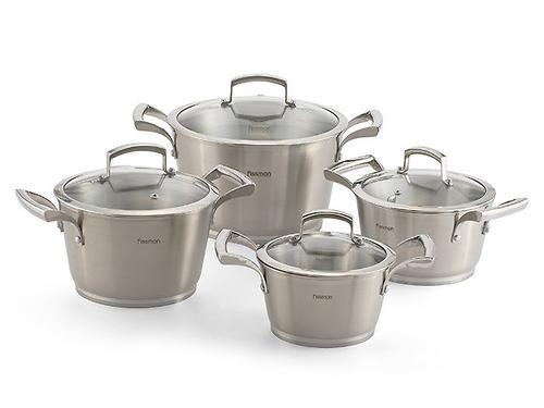 Набор посуды Fissman MILLENNIUM 8 пр. со стеклянными крышками (нерж. сталь) 5812 (1)