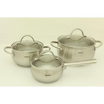 Набор посуды MARTINEZ 6 пр. со стеклянными крышками (нерж. сталь) Fissman 5829 - Minim