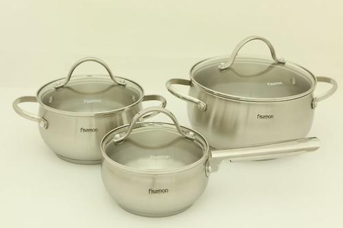 Набор посуды MARTINEZ 6 пр. со стеклянными крышками (нерж. сталь) Fissman 5829 (1)