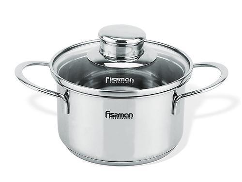 Кастрюля BAMBINO 14x7,5 см / 1,1 л со стекл. крышкой (нерж. сталь) Fissman 5274 (1)