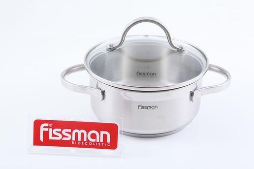 Кастрюля Fissman LUMINOSA 1,5 л со стеклянной крышкой (нерж. сталь) 5331 (1)