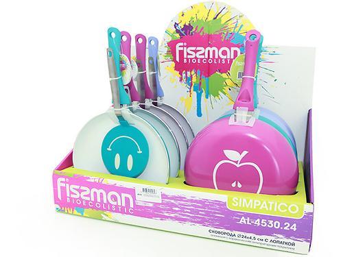Сковорода для жарки Fissman SIMPATICO с лопаткой (алюм. с керам. антипригарным покрытием) 4530 (1)