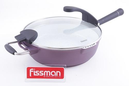 Глубокая сковорода Fissman SIROCCO со стеклянной крышкой с индукционным дном (алюм. с керам. антипригарным покрытием) 4563 (1)