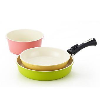 Набор посуды Fissman CLICK 4 пр. со съемной ручкой (алюм. с керам. антипригарным покрытием) 4630 - Minim