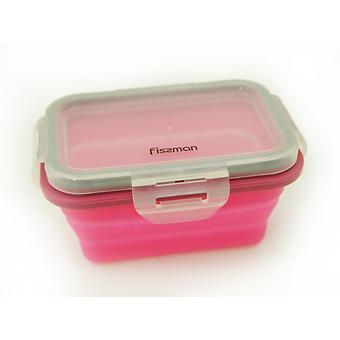 Складной прямоугольный контейнер для хранения продуктов 13x9x6 см / 300 мл (силикон, пластик) Fissman 7488 - Minim