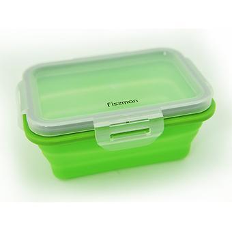 Складной прямоугольный контейнер для хранения продуктов 15x11x6 см / 410 мл (силикон, пластик) Fissman 7489 - Minim