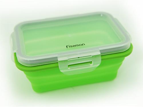 Складной прямоугольный контейнер для хранения продуктов 15x11x6 см / 410 мл (силикон, пластик) Fissman 7489 (3)