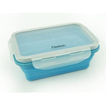 Складной прямоугольный контейнер для хранения продуктов 17x12x6 см / 500 мл (силикон, пластик) Fissman 7490 - Minim