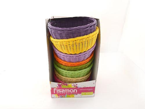 Плетеная корзинка круглая 24x10 см (пластик) Fissman 7676 (1)