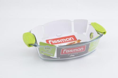 Овальное блюдо для запекания 26.9x18.2x6 см / 1.3 л с силиконовыми ручками (стекло) Fissman 6134 (1)