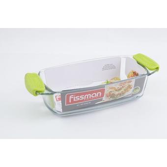 Прямоугольное блюдо для запекания 30.9x14x7 см / 1.5 л с силиконовыми ручками (стекло) Fissman 6136 - Minim