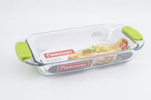 Прямоугольное блюдо для запекания Fissman 1.6л с силиконовыми ручками (стекло) 6137 (1)