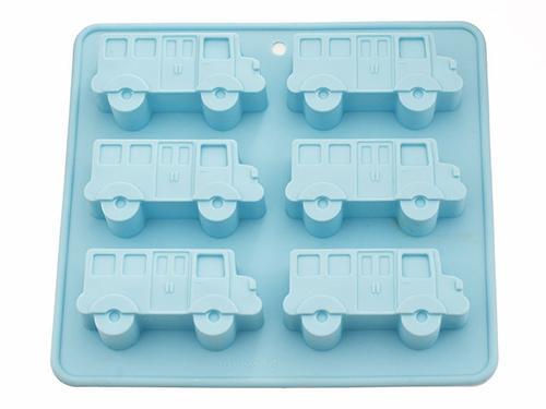 Форма для выпечки 6 кексов Fissman АВТОБУС 22x20x2,8 см ЛАЗУРНЫЙ (силикон) 6653 (1)