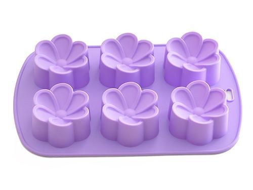 Форма для выпечки 6 кексов Fissman ЦВЕТЫ 26,5x17x3 см ЛИЛОВЫЙ (силикон) 6656 (1)