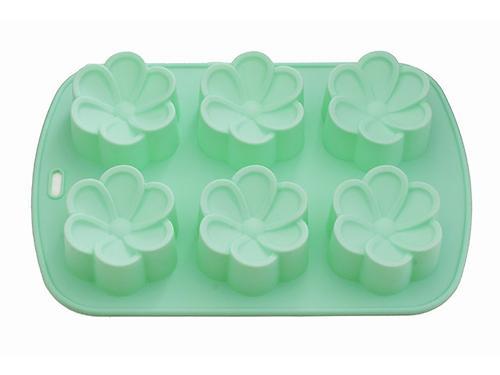 Форма для выпечки 6 кексов Fissman ЦВЕТЫ 26,5x17x3 см АКВАМАРИН (силикон) 6657 (1)