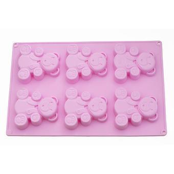Форма для выпечки 6 кексов Fissman МЕДВЕЖОНОК 26x17x1,8 см ЧАЙНАЯ РОЗА (силикон) 6659 - Minim