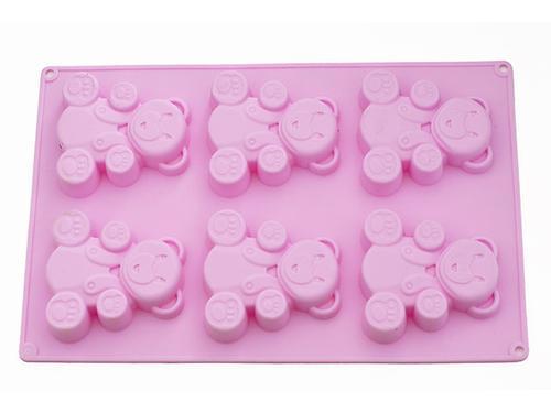 Форма для выпечки 6 кексов Fissman МЕДВЕЖОНОК 26x17x1,8 см ЧАЙНАЯ РОЗА (силикон) 6659 (1)