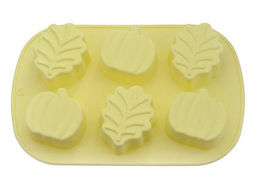 Форма для выпечки 6 кексов Fissman ЛИСТЬЯ, ЯБЛОКИ 25x16,8x3,8 см ПАЛЕВЫЙ (силикон) 6666 (1)