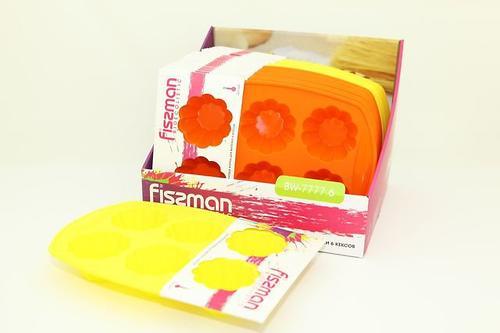 Силиконовая форма для выпечки 6 кексов Цветок 7,5x7,5x3,8 см Fissman 7777 (1)