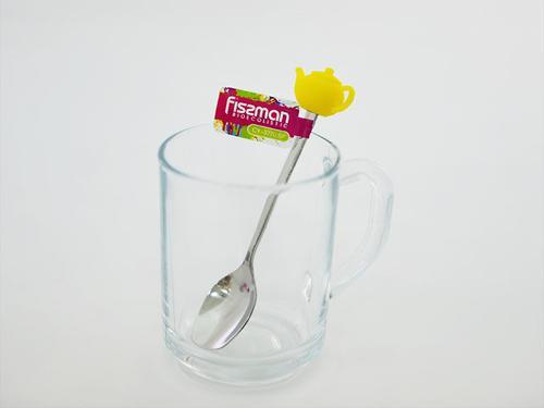 Чайная ложечка с силиконовой фигуркой ЧАЙНИК (нерж. сталь) Fissman 3770 (1)