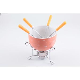 Набор для приготовления шоколадного фондю MINI 6 пр. (керамика оранжевая) Fissman 6308 - Minim