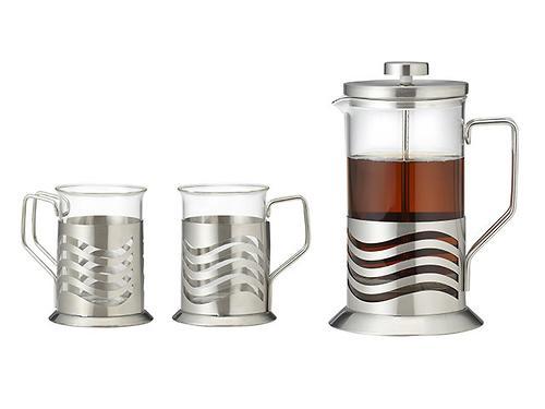 Набор из заварочного чайника 600 мл с поршнем MOZART 3 пр. (стеклянные колбы) Fissman 9169 (1)