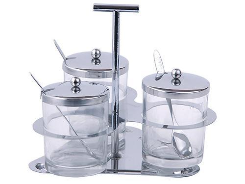 Набор из 3-х сахарниц 200 мл с ложечками на подставке (стекл.) Fissman 7532 (1)