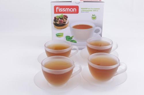 Набор из 4 чашек с блюдцами 235 мл Fissman (белое стекло) 9307 (1)