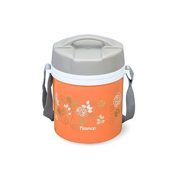Термос для пищи с широким горлом 1400 мл ОРАНЖЕВЫЙ с двумя контейнерами и ложкой (пластиковый корпус со стальной колбой) Fissman 7940 - Minim