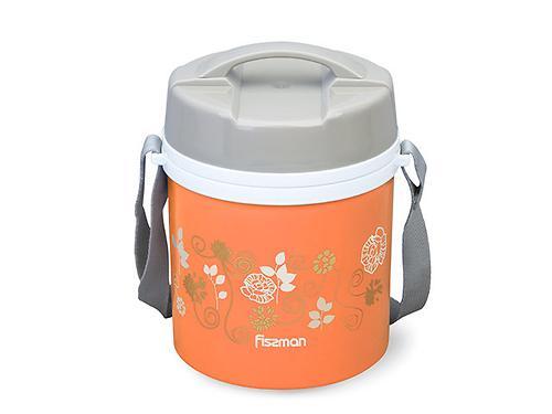Термос для пищи с широким горлом 1400 мл ОРАНЖЕВЫЙ с двумя контейнерами и ложкой (пластиковый корпус со стальной колбой) Fissman 7940 (3)