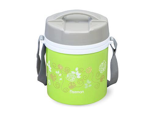 Термос для пищи с широким горлом 1400 мл ЗЕЛЕНЫЙ с двумя контейнерами и ложкой (пластиковый корпус со стальной колбой) Fissman 7941 (3)