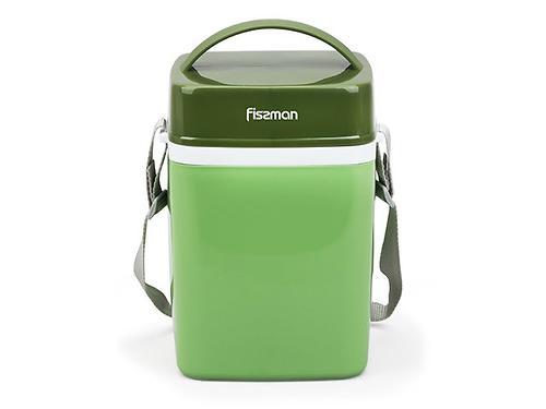 Термос для пищи с широким горлом 2000 мл ЗЕЛЕНЫЙ с тремя контейнерами и ложкой (пластиковый корпус со стальной колбой) Fissman 7942 (3)
