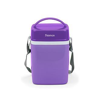 Термос для пищи с широким горлом 2000 мл ФИОЛЕТОВЫЙ с тремя контейнерами и ложкой (пластиковый корпус со стальной колбой) Fissman 7943 - Minim