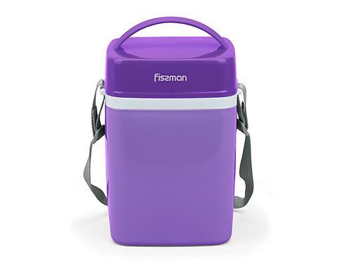 Термос для пищи с широким горлом 2000 мл ФИОЛЕТОВЫЙ с тремя контейнерами и ложкой (пластиковый корпус со стальной колбой) Fissman 7943 (3)