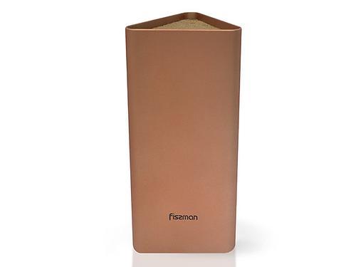 Универсальная подставка для кухонных ножей и ножниц 10x23 см треугольная ЗОЛОТАЯ (пластик) Fissman 2988 (3)