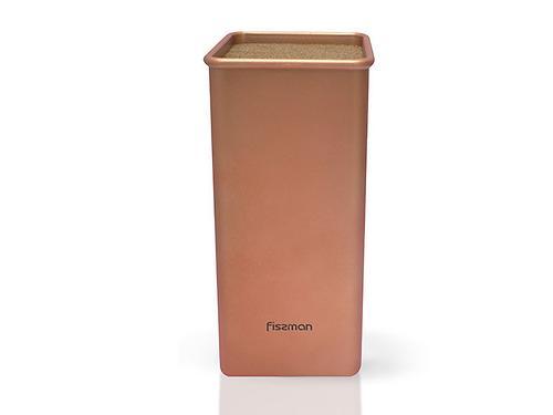 Универсальная подставка для кухонных ножей и ножниц 10x23 см квадратная ЗОЛОТАЯ (пластик) Fissman 2989 (3)