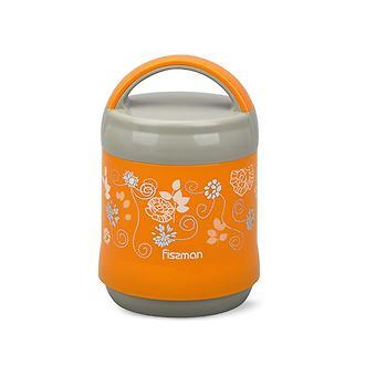 Термос-контейнер для пищи с широким горлом 1200 мл ОРАНЖЕВЫЙ (пластиковый корпус со стеклянной колбой) Fissman 7934 - Minim