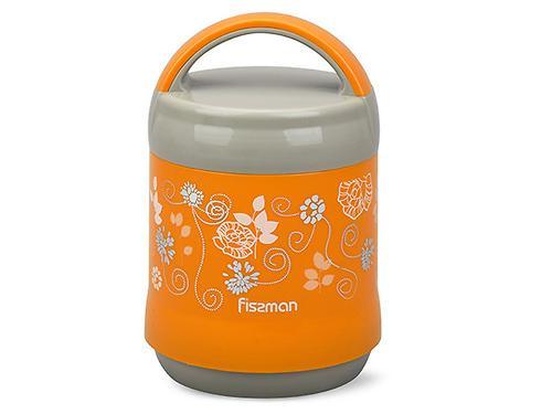 Термос-контейнер для пищи с широким горлом 1200 мл ОРАНЖЕВЫЙ (пластиковый корпус со стеклянной колбой) Fissman 7934 (1)
